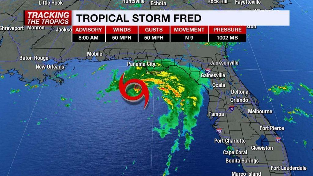 A tempestade tropical Fred foi para a Flórida