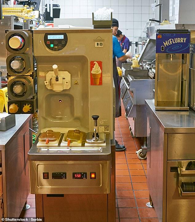 As máquinas de sorvete McDonald's, que são fabricadas pela Taylor Co., com sede em Illinois, costumam apresentar problemas de funcionamento.  Dez por cento deles estão offline nos EUA na tarde de quarta-feira