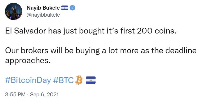 El Salvador começa a comprar bitcoin a granel antes que o BTC se torne com curso legal amanhã