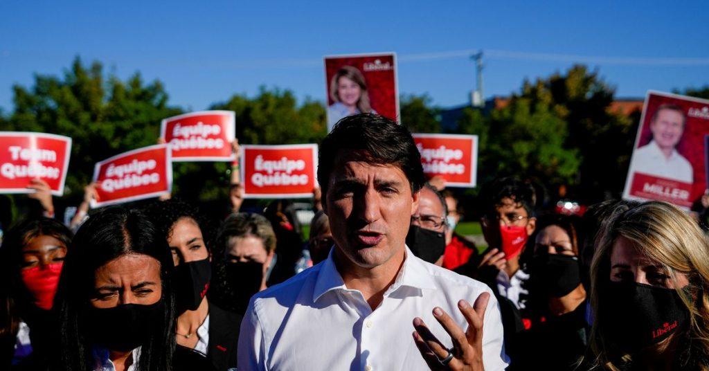 Trudeau do Canadá luta contra a postura do COVID-19 no último dia de campanha